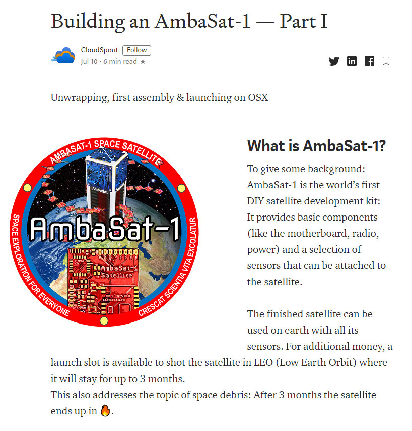 Building an AmbaSat-1 – Part 1